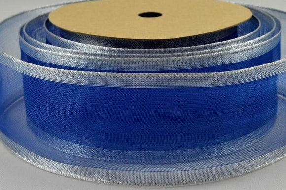 Wired Edge Ribbon - Royal Blue and Silver - 40mm Wide