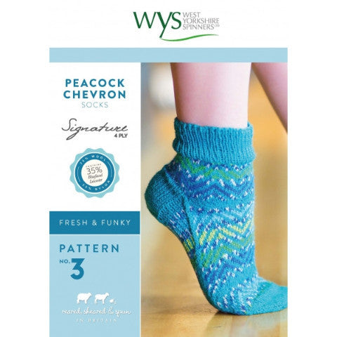 Peacock Chevron Socks Pattern - West Yorkshire Spinners Signature Style Collection