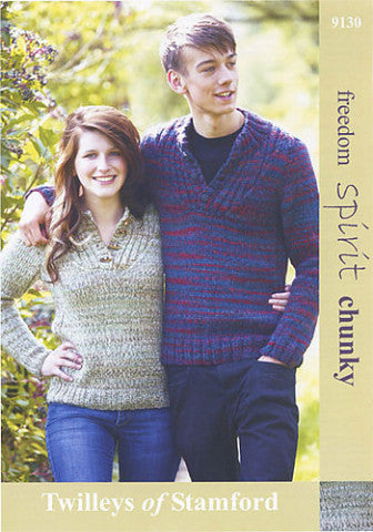 His and Hers Sweater Knitting Pattern - Twilleys of Stamford 9130