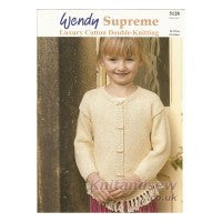 Wendy Knitting Pattern 5128 - Kids' Cardigan and Sweater in DK Cotton