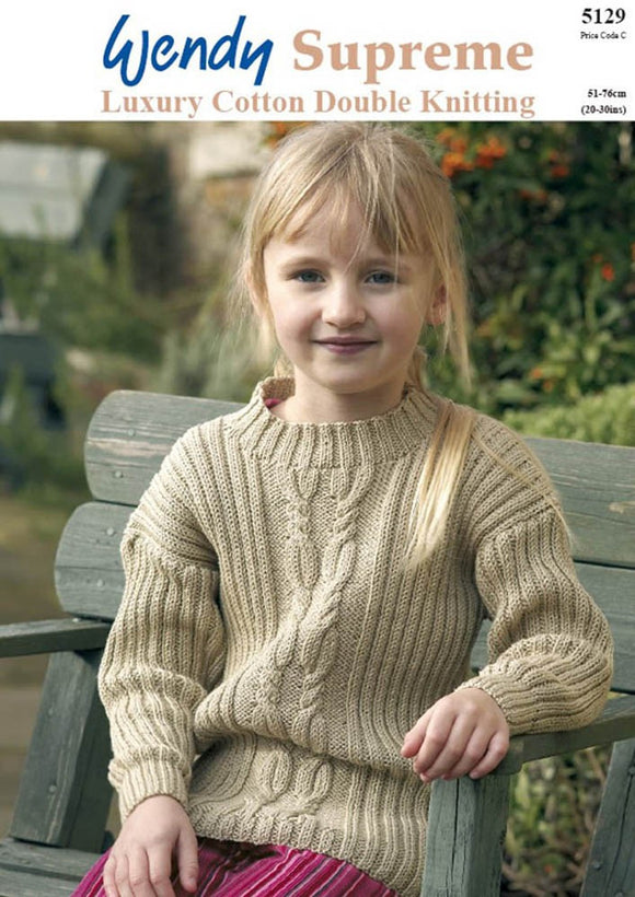 Childs Aran Jumper in Cotton DK - Wendy 5129