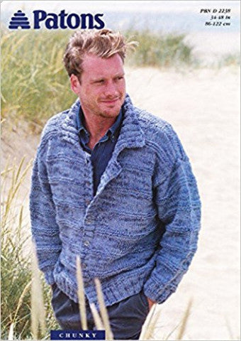 Men's Chunky Cardigan Knitting Pattern - Patons 2238