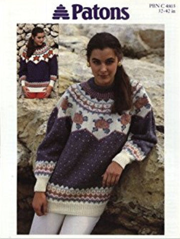 Ladies Fair Isle Jumper Knitting Pattern - Patons 4803