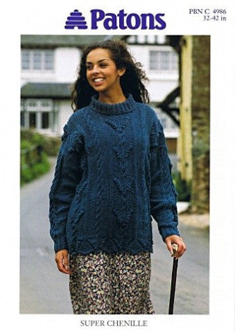 Ladies Bobble and Cable Sweater/Tunic Knitting Pattern - Patons 4986
