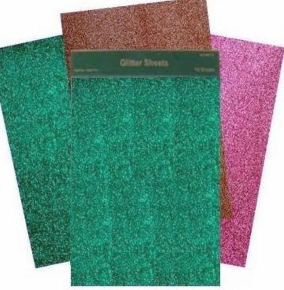 Glitter Sheets x 12 – Red Gold and Green