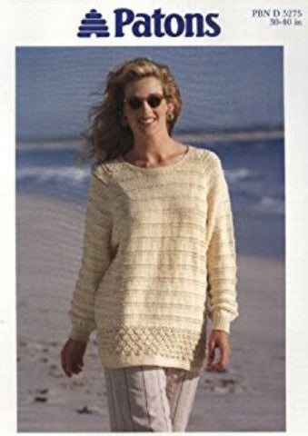 Ladies Long Sleeve Raglan Tunic/Sweater Knitting Pattern - Patons 5275