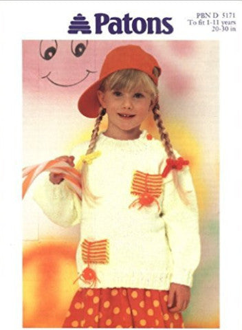 Childs Sweater with Pockets - Patons 5171