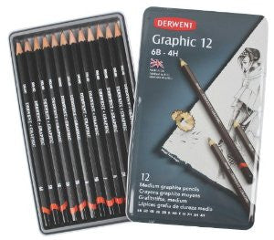 Derwent 12 Graphic Medium Pencils – 6B to 4H