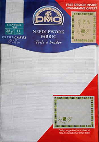 DMC Needlework Fabric - White - 28 count Evenweave - 20 x 27""