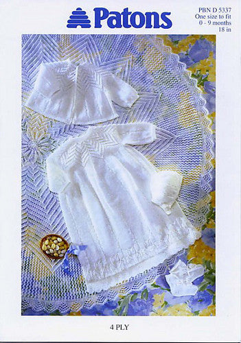 Christening Layette Knitting Pattern in 4 Ply - Patons 5337