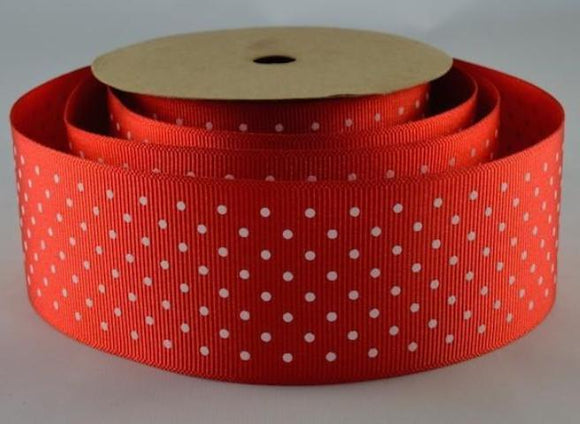 Polka Dot Grosgrain Ribbon - Red - 38mm Wide