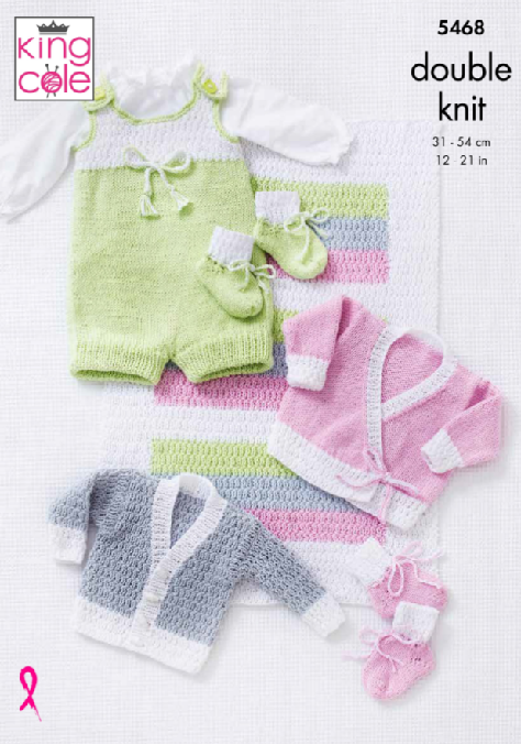 Blanket, Romper, Cardigans and Bootees in King Cole Cottonsoft DK (5468)