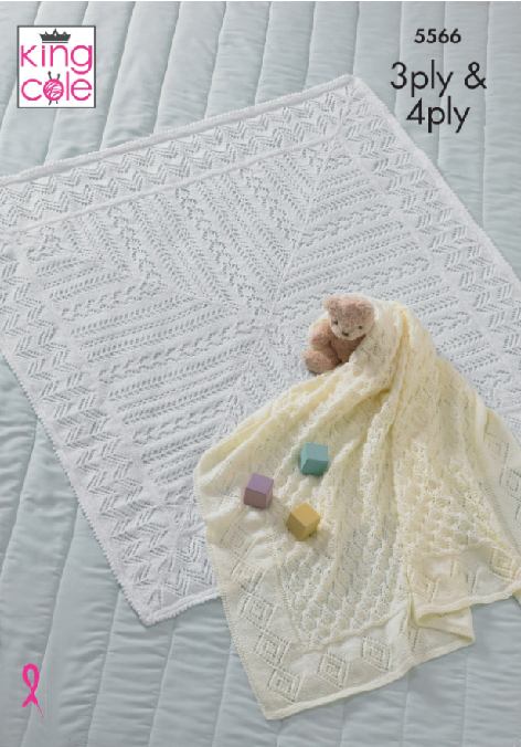 Baby Blankets in King Cole Comfort 4 Ply and 3 Ply (5566)
