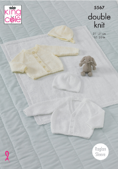 Babies Raglan Cardigans, Hat, Bonnet and Blanket in King Cole Comfort DK  (5567)