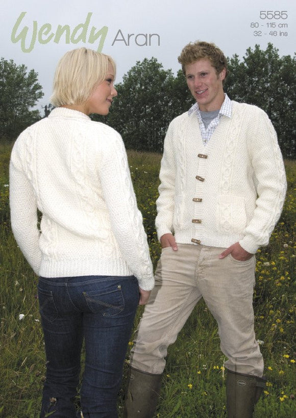 His and Hers Aran Cardigan Knitting Pattern - Wendy 5585