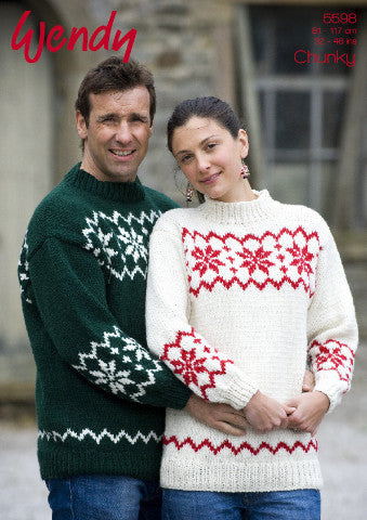 His and Hers Snowflake Jumper Knitting Pattern - Wendy 5598