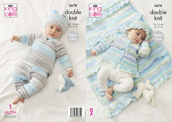 Sweater, Pants, Jacket, Hat and Blanket in King Cole Cherish DK (5678)