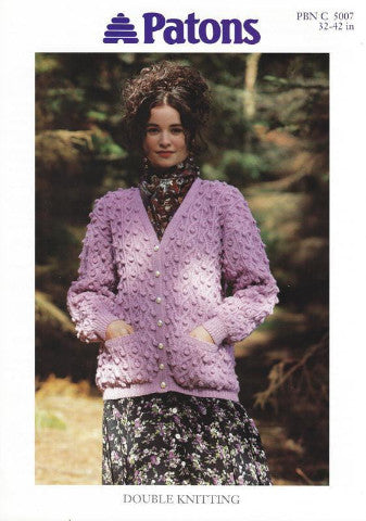 Ladies Bobble Textured V Neck Cardigan Knitting Pattern - Patons 5007