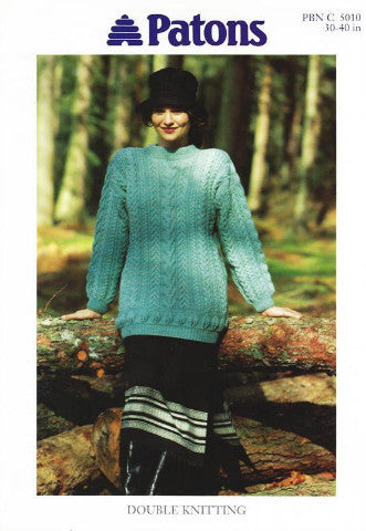 Ladies Cable Tunic/Sweater Knitting Pattern - Patons 5010