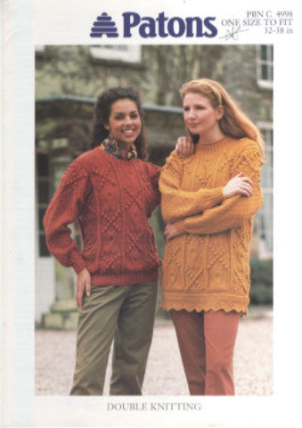 Ladies Cable and Bobble Tunic and Sweater Knitting Pattern - Patons 4998