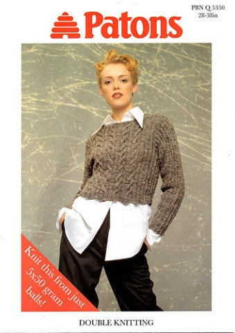 Ladies' Cropped Cabled Sweater & Cardigan Knitting Pattern - Patons 5350