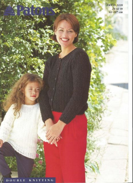 Girl's and Woman's Cardigan and Sweater Knitting Pattern - Patons 2228