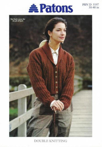 Ladies Cable and Leaf Motif Jacket Knitting Pattern - Patons 5197