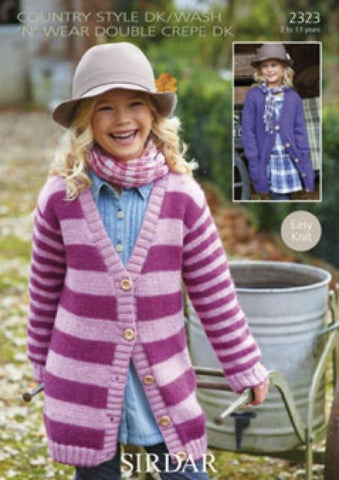 Girls Long V Neck Cardigan Knitting Pattern - Sirdar 2323