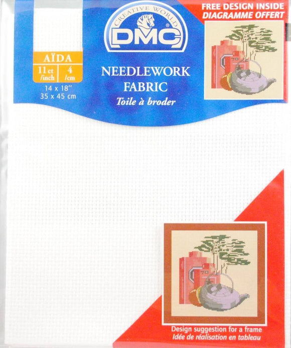 DMC Needlework Fabric - White - 11 count Aida - 14 x 18