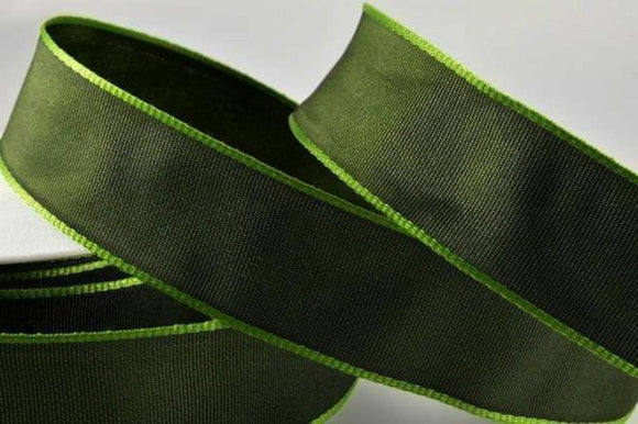 Wired Grosgrain Ribbon - Dark Green - 25mm Wide