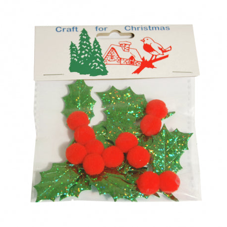 Holly Leaf and Berries Embellishment by Craft for Christmas