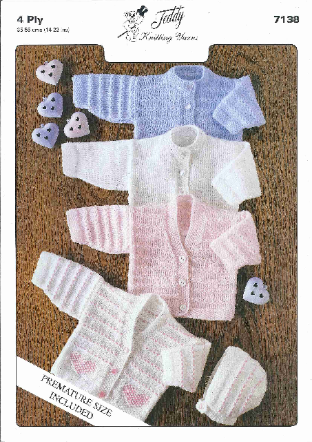 4 Ply Baby Cardigans and Bonnet Knitting Pattern - Teddy 7138