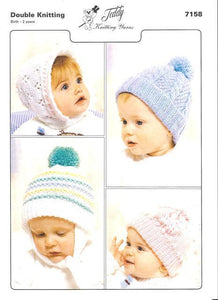 Baby's Hats Knitting Pattern - Teddy 7158