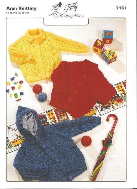 Teddy 7161 - Children's Aran Jackets Knitting Pattern