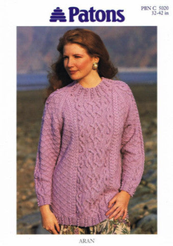 Ladies Celtic Cable Sweater/Tunic Knitting Pattern - Patons 5020