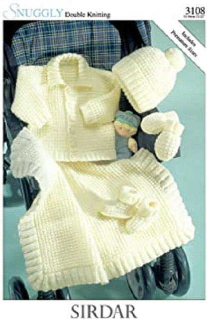 Sirdar Snuggly DK Knitting Pattern - 3108 Baby's Jacket, Hat, Mittens, Bootees and Blanket