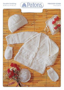 Babies Jacket, Hat and Mitts Knitting Pattern - Patons 2989