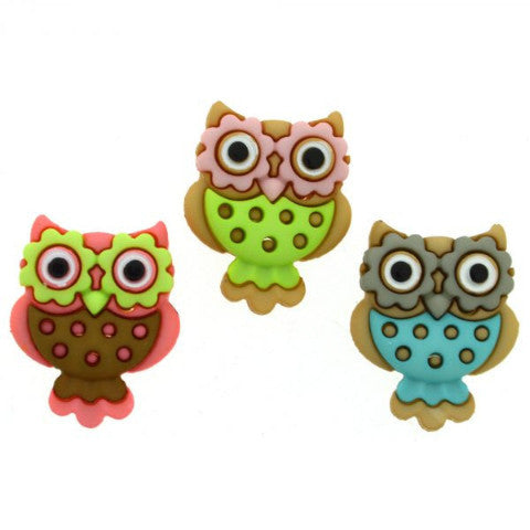 Dress It Up Buttons by Jesse James - Retro Owls
