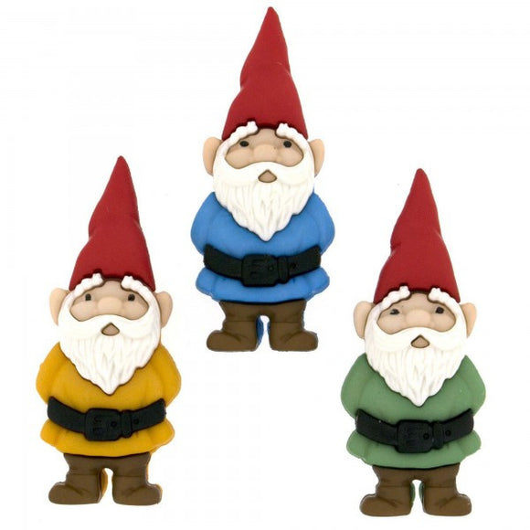 Dress it Up by Jesse James Novelty Buttons - Garden Gnomes