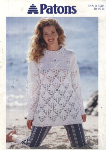 Ladies Aran Lace and Bobble Jumper Knitting Pattern - Patons 5285