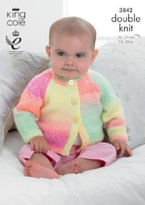 Baby Cardigans and Sweater Knitting Pattern - King Cole 3842