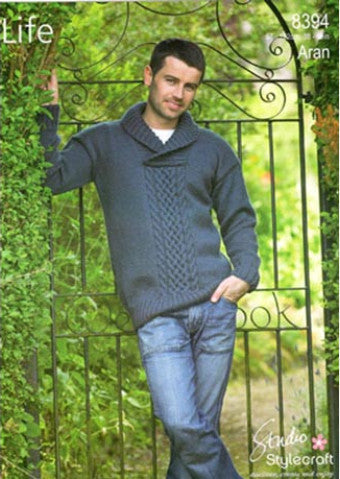 Men's Shawl Collar Aran Jumper - Stylecraft Pattern 8394