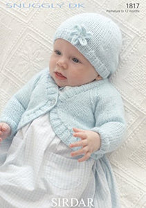 Babies Bolero Cardigan and Hat Knitting Pattern - Sirdar 1817