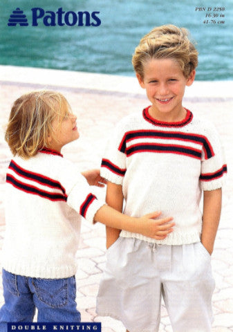 Child's Striped T-Shirt Knitting Pattern - Patons 2258