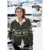 Sirdar Knitting Pattern 9438 - Ladies Snowflake Sweater/Cardigan - DK