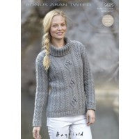 Ladies Aran Cable Knit Sweater - Sirdar Knitting Pattern 9685