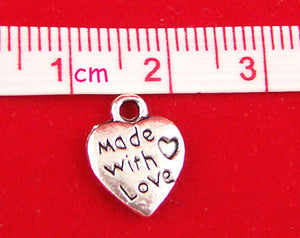 Tibetan Silver 'Made With Love' Charm