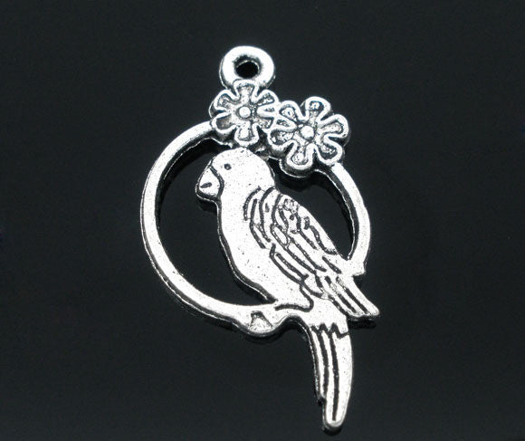 Silver Tone Parrot Charm