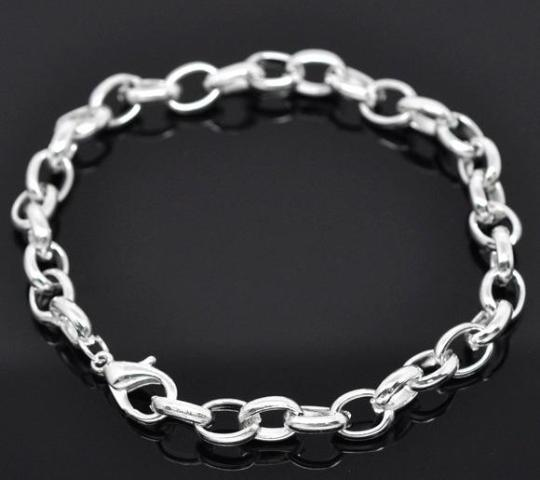 Silver Plated Link Chain Charm Bracelet - 19 cm