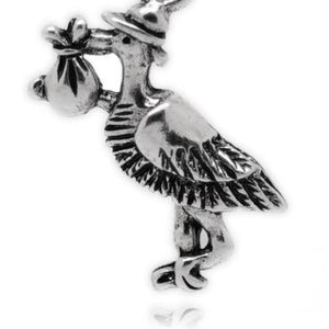 Silver Tone Stork with Baby Charm
